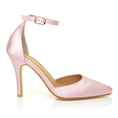 2065380ab4 NEW YORK Baby Pink Satin Ankle Strap Pointed High Heel Bridal Court Shoes  Size UK 3