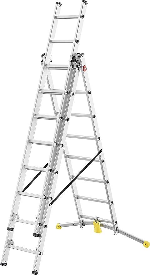 Hailo 1420 – 507 hobbylot aluminio escalera combinada 3 piezas, travesaños: 2 x 8 Plus 1 x 9: Amazon.es: Bricolaje y herramientas
