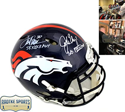 John Elway   Terrell Davis Autographed Signed Denver Broncos Speed Authentic  Helmet With quot SB a118fdc0c