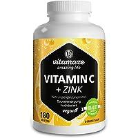 Vitamina C ad alto dosaggio da 1000 mg + bioflavonoidi + zinco 180 compresse vegetali in confezione scorta per sei mesi, prodotto di qualità tedesca senza stearato di magnesio