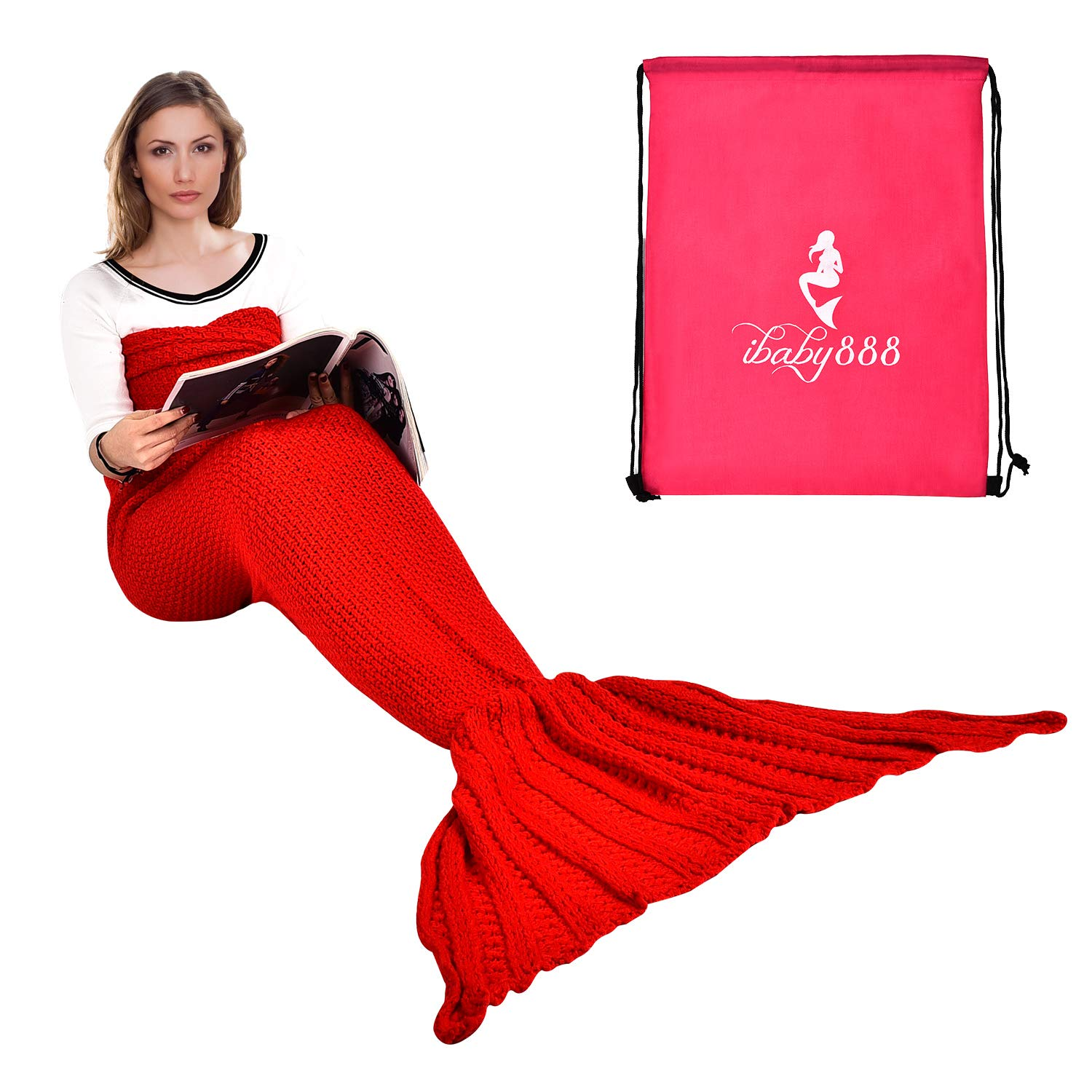 Handmade Mermaid Tail Blanket Crochet , Ibaby888 All Seasons Warm Knitted Bed Blanket Sofa Quilt Living Room Sleeping Bag for Kids and Adults(72.8