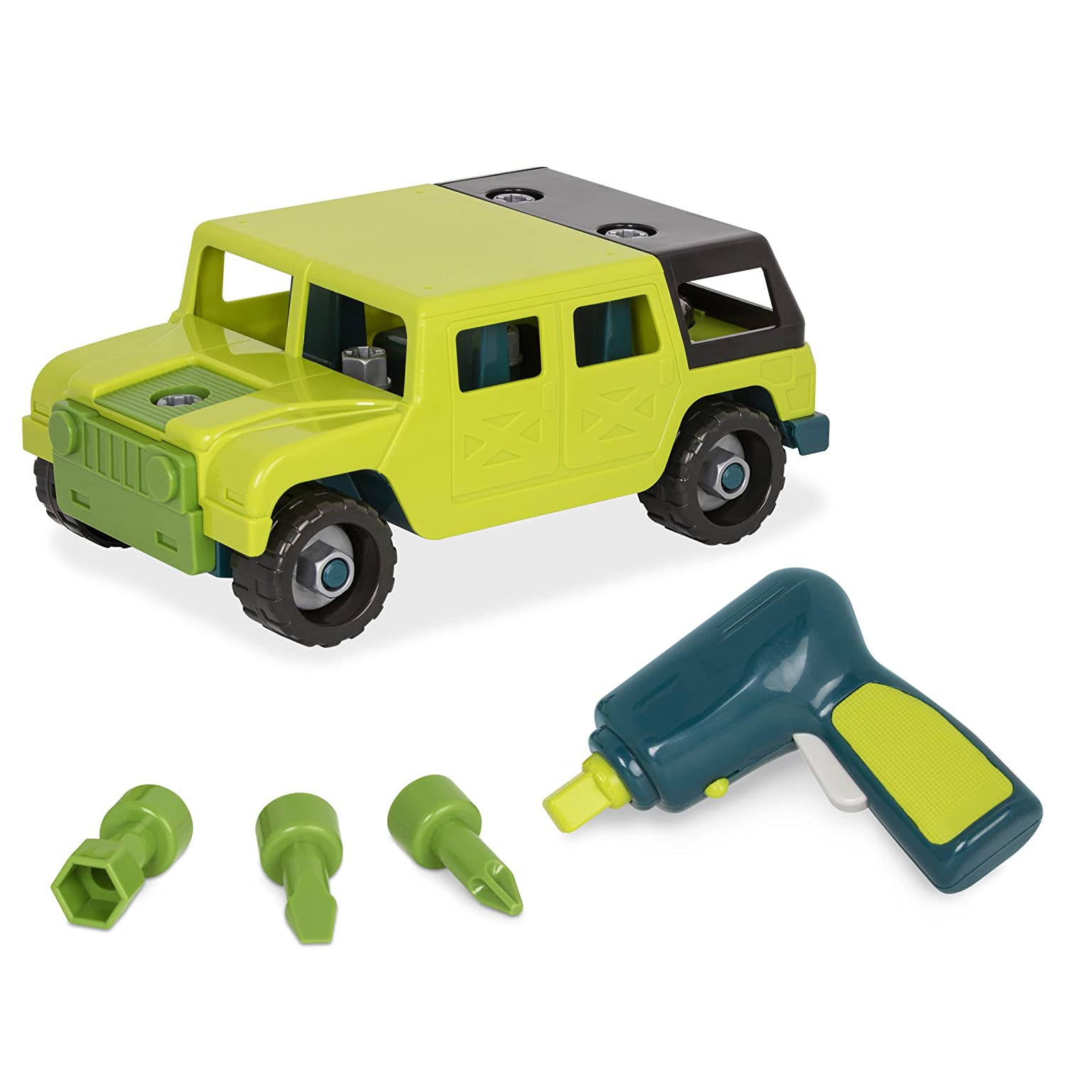 Battat – Take-Apart 4x4 Truck – Toy vehicle assembly playset with functional battery-powered drill - Early childhood developmental skills toy for kids aged 3 and up