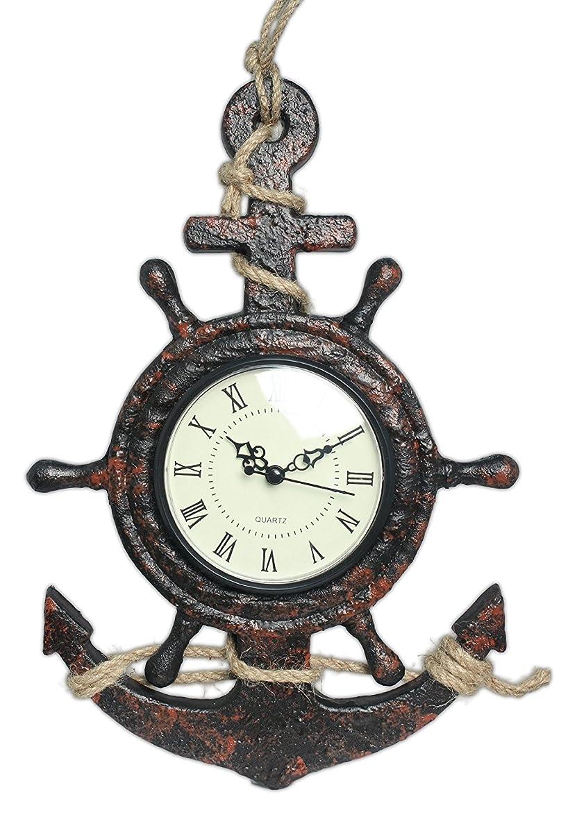 "MayRich 13"" x 9"" Ship Wheel & Anchor Quartz Wall Clock"