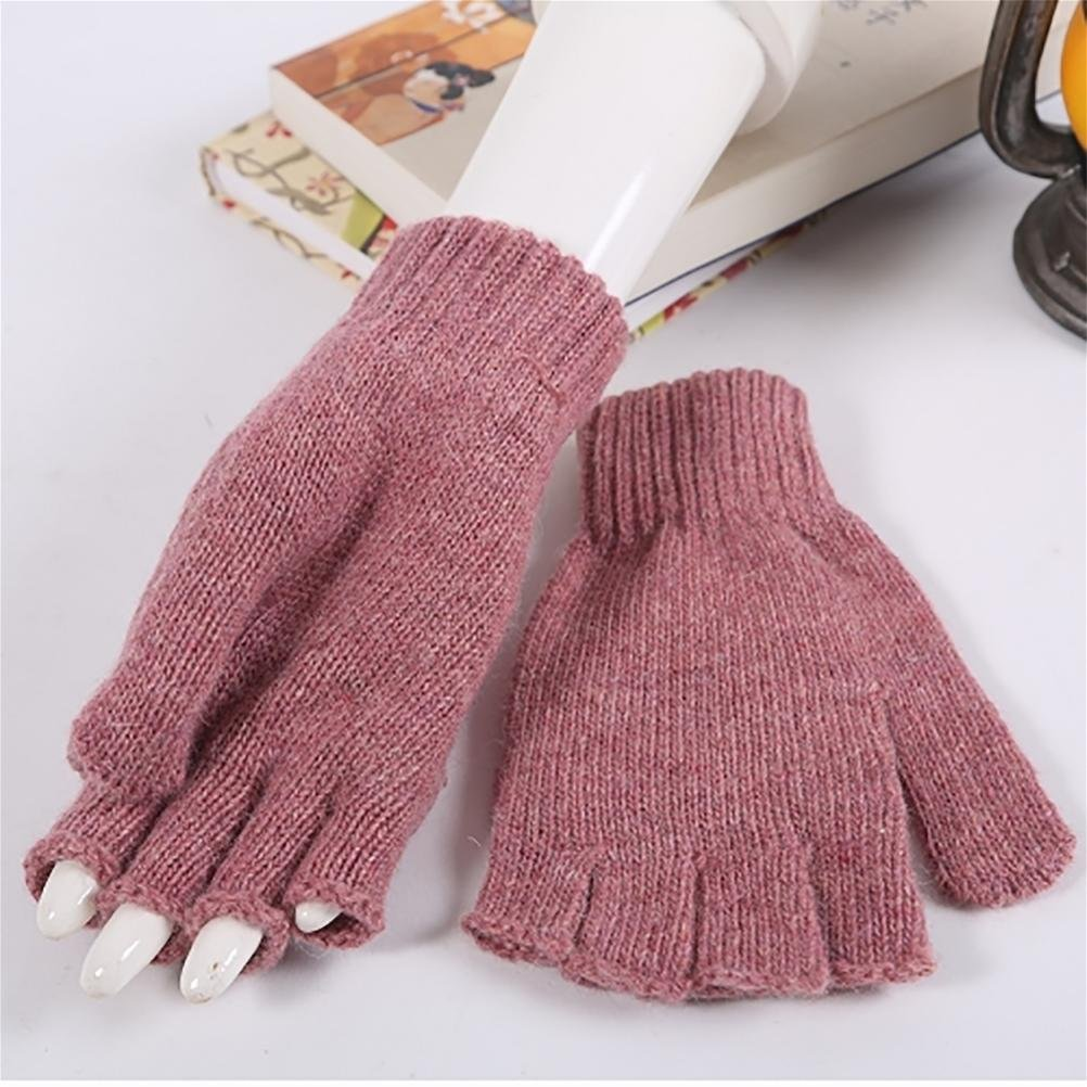 SALY Estudiantes de otoño cálido y guantes de lana de invierno preciosa flip , rose red