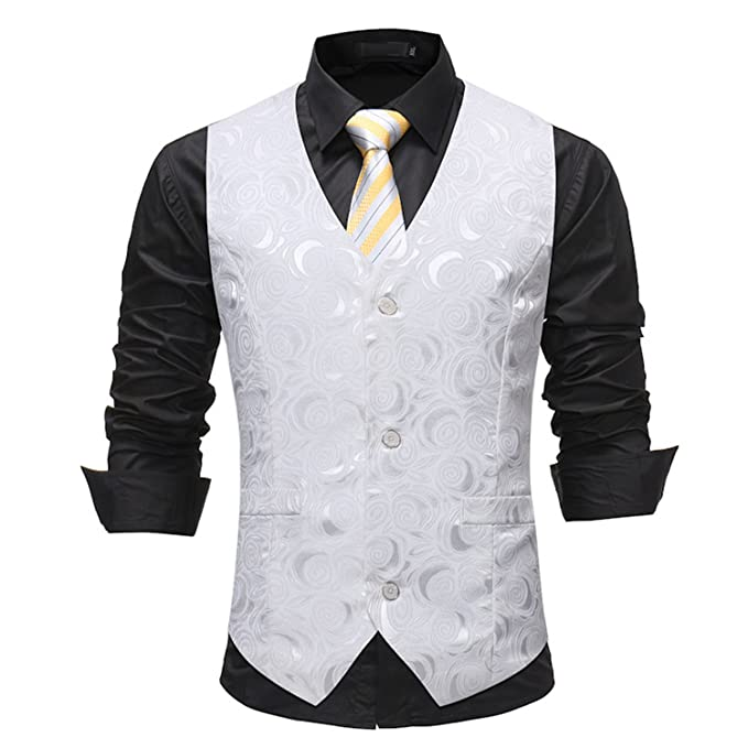 Susan1999 Mens White Single Breasted Suit Vest Rose Printed Wedding Dress Vest  Tuxedo Waistcoat  Amazon.ca  Clothing   Accessories ca72974ee6d5