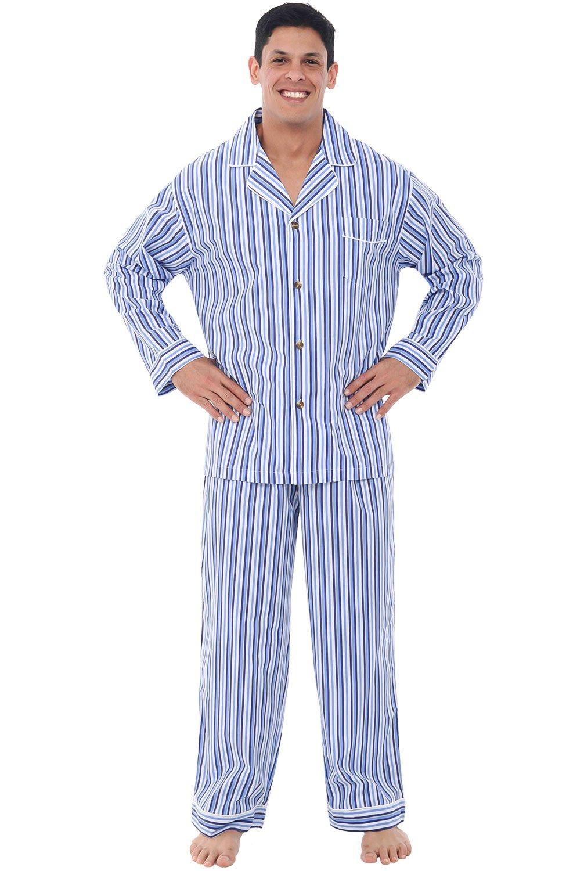 Alexander Del Rossa Mens Cotton Pajamas, Long Woven Pj Set, Small Dark Blue and White Striped (A0714P19SM)