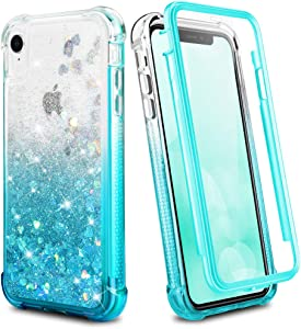 Ruky iPhone XR Case, Glitter Clear Full Body Rugged Liquid Cover with Built-in Screen Protector Shockproof Protective Girls Women Case for iPhone XR Cases 6.1 inches 2018 (Gradient Teal)