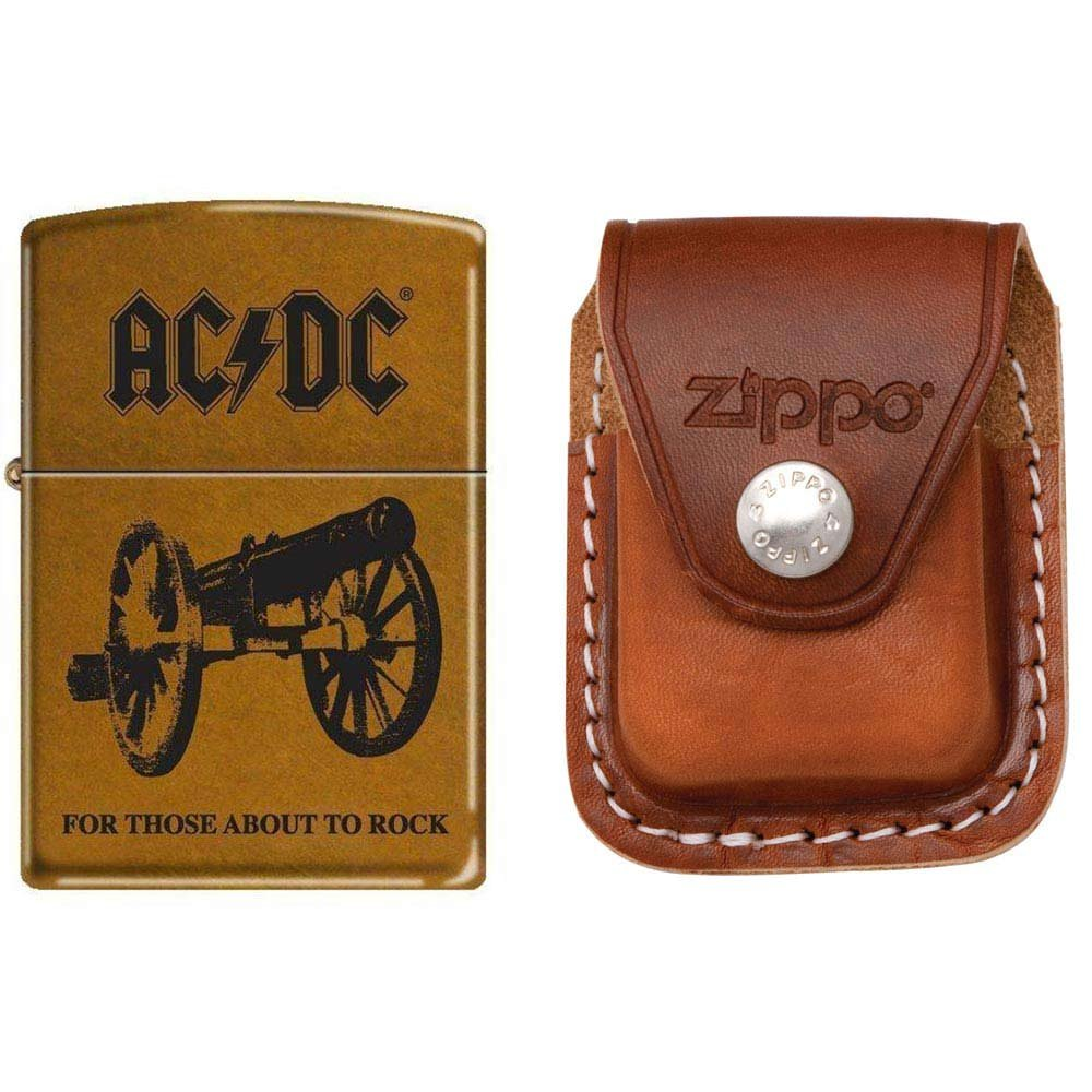 Zippo 7669 Classic Toffee Finish AC/DC Cannon For Those About to Rock Lighter with Zippo Brown Leather Clip Pouch