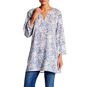 KC Signatures Women's Cotton Abstract Print Tunic Blouse (Small)
