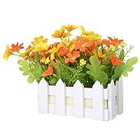 NiceEshop-Set di fiori artificiali in vaso, pianta finta di recinto in fiore