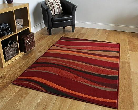 The Rug House Modern Waves Rugs, Warm Red/Brown/Burnt Orange, 120