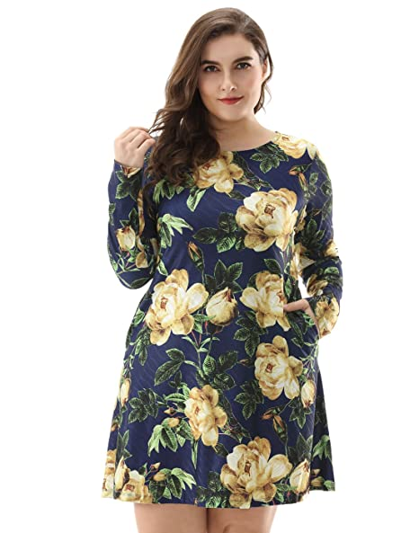 8a873e018754 OEUVRE Women s Pocket Floral Loose Knee Length Long Sleeve Tunic Dress  Blue-06