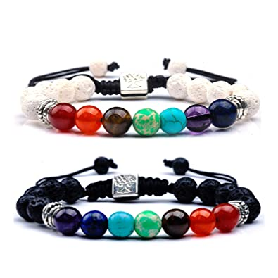 Lava Stones Bracelet Chakra Lava Stone With 2 Essential Oils Jewelry & Watches