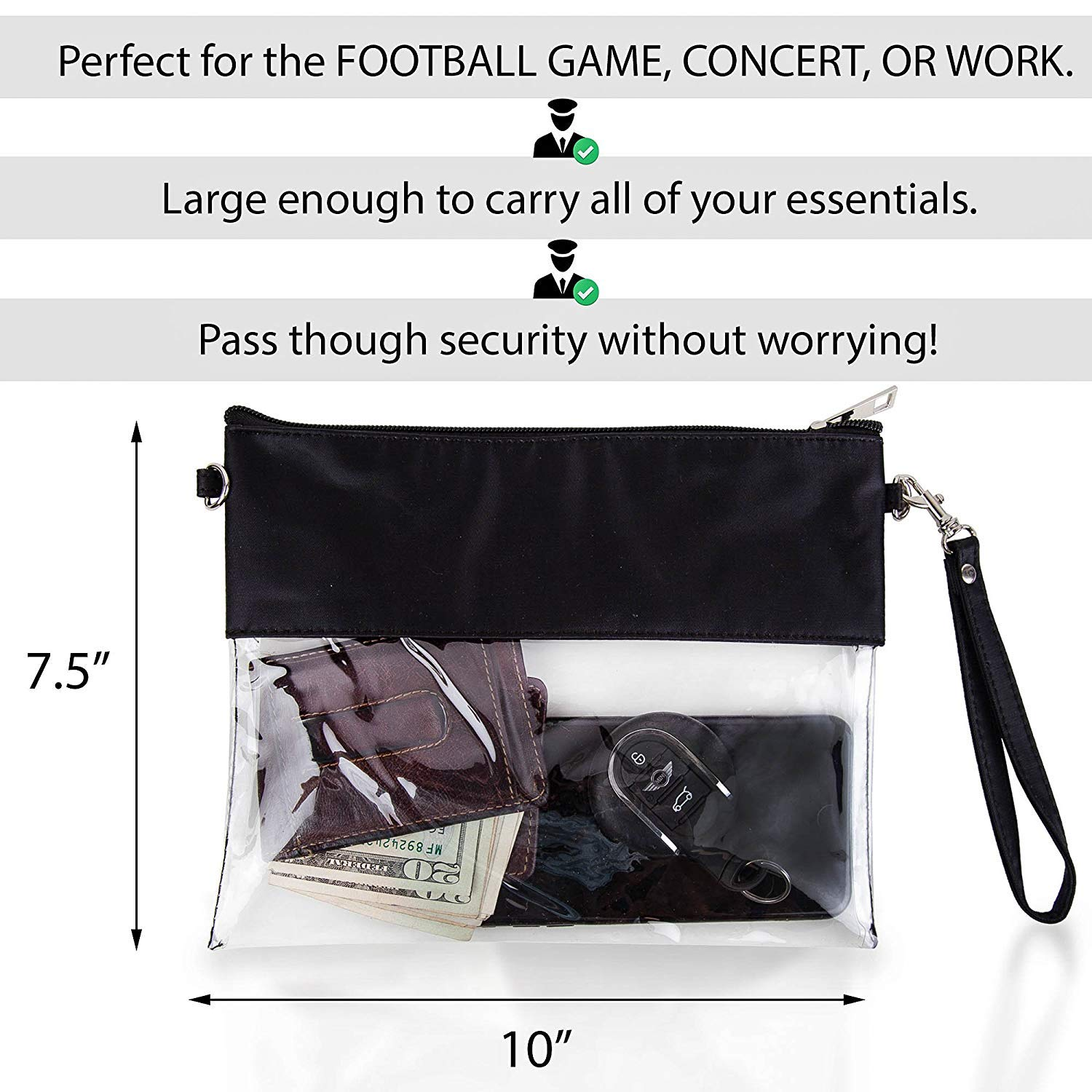 MONOBLANKS Clear Zip Pouch with Detachable Crossbody Adjustable Strap and Wristlet (Purple) by MONOBLANKS (Image #5)