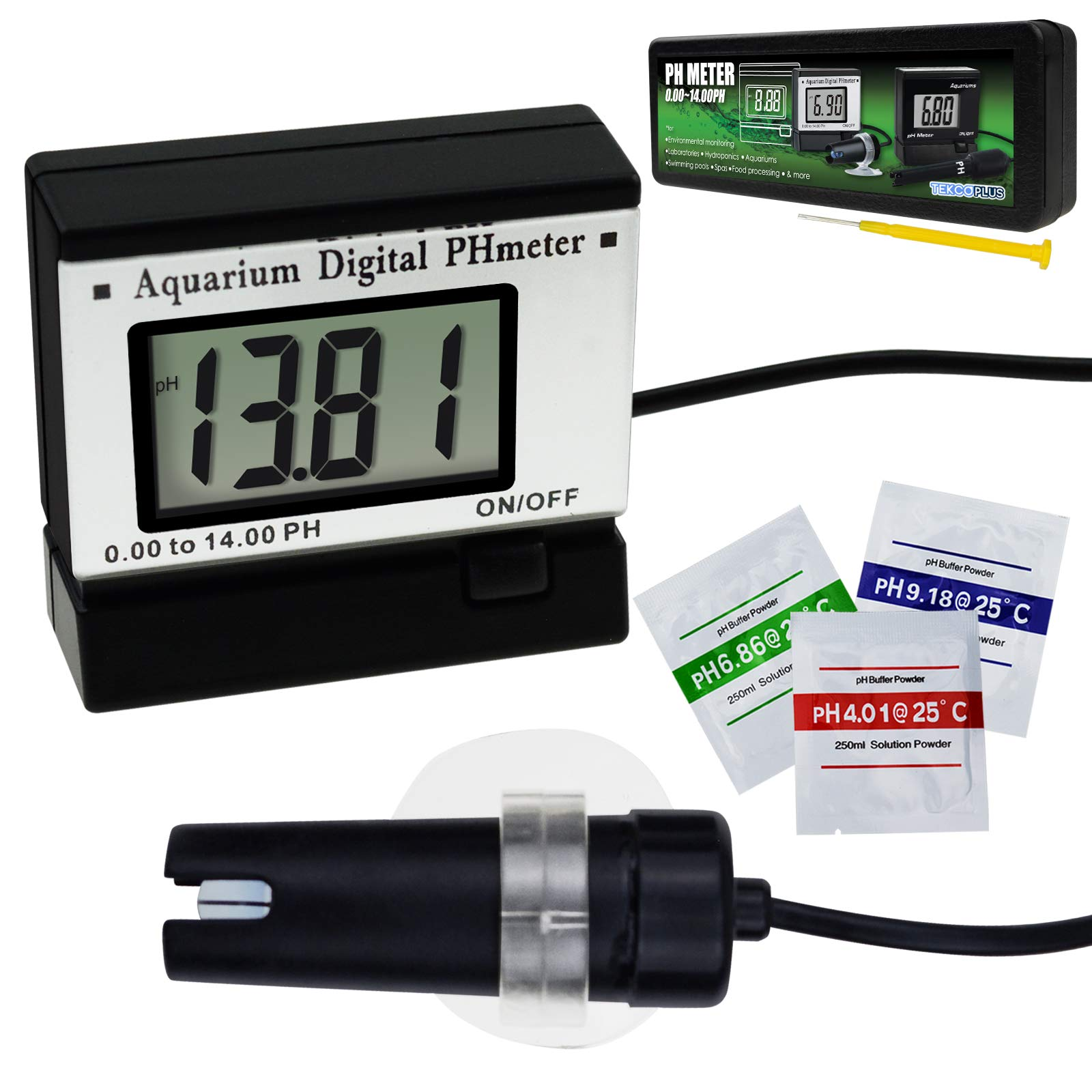 Digital pH LCD Water Quality Meter ATC 0~14.00pH Tester Monitor 1.5m/4.9ft Replaceable BNC Electrode Probe Adjustable Mounting Bracket Aquarium Tank Waterproof