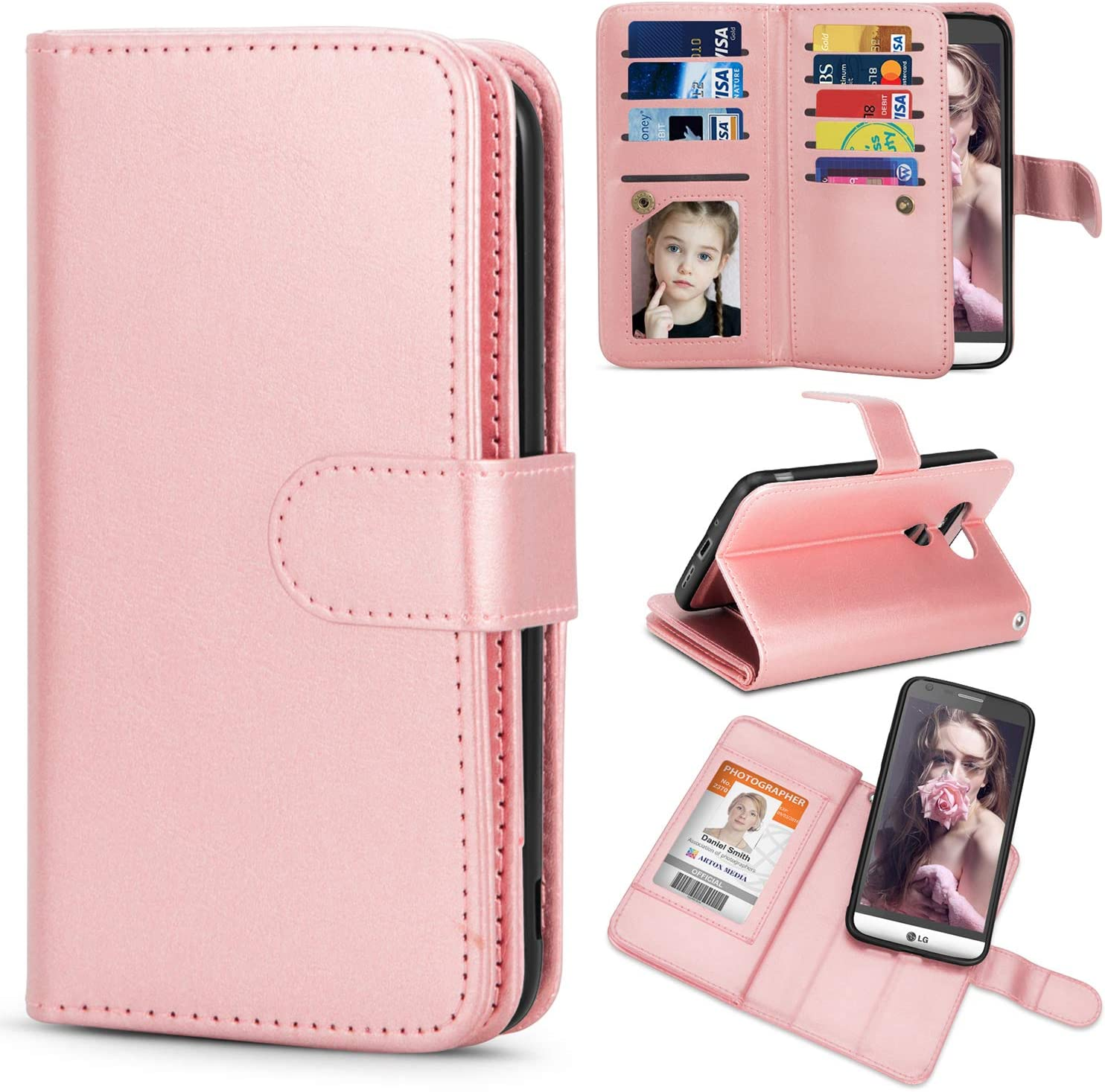 TILL for LG G5 Case, TILL LG G5 Wallet Case PU Leather Carrying Flip Cover [Cash Credit Card Slot Holder & Kickstand] Detachable Magnetic Folio Slim Protective Hard Case Shell for LG G5 [Rose Gold]