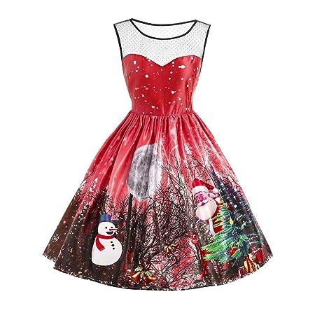 iBâste Vestidos Mujeres Fiestas Navidad Faldas con Impresión de ...
