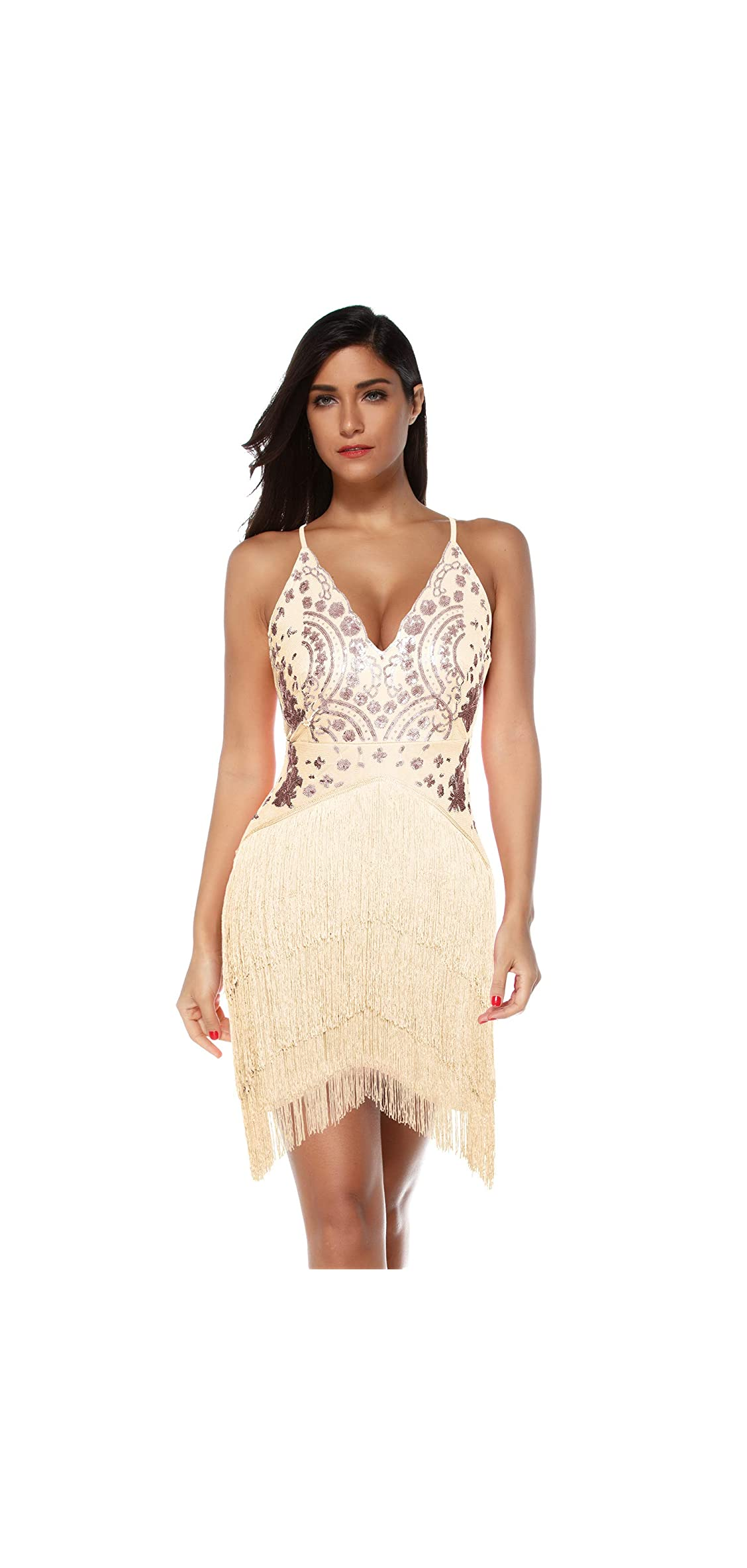 Women's Sequin Tassel Mini Dress Party Bodycon Club Night