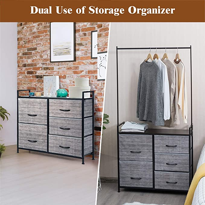Gray+Black Multifunctional Dresser Storage Tower W//8 Fabric Drawers Metal Frame Storage Organizer for Closet Hallway Bedroom Living Room Tangkula Fabric Drawer Dresser with Clothes Rail Shoe Rack