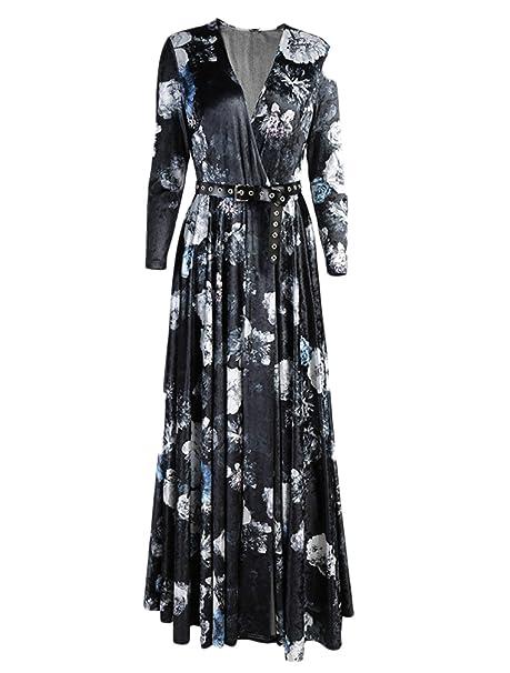 nihiug Vestidos Vestidos Terciopelo Otoño Mujeres Autocultivo Impresión Tenedor Oscilación: Amazon.es: Ropa y accesorios