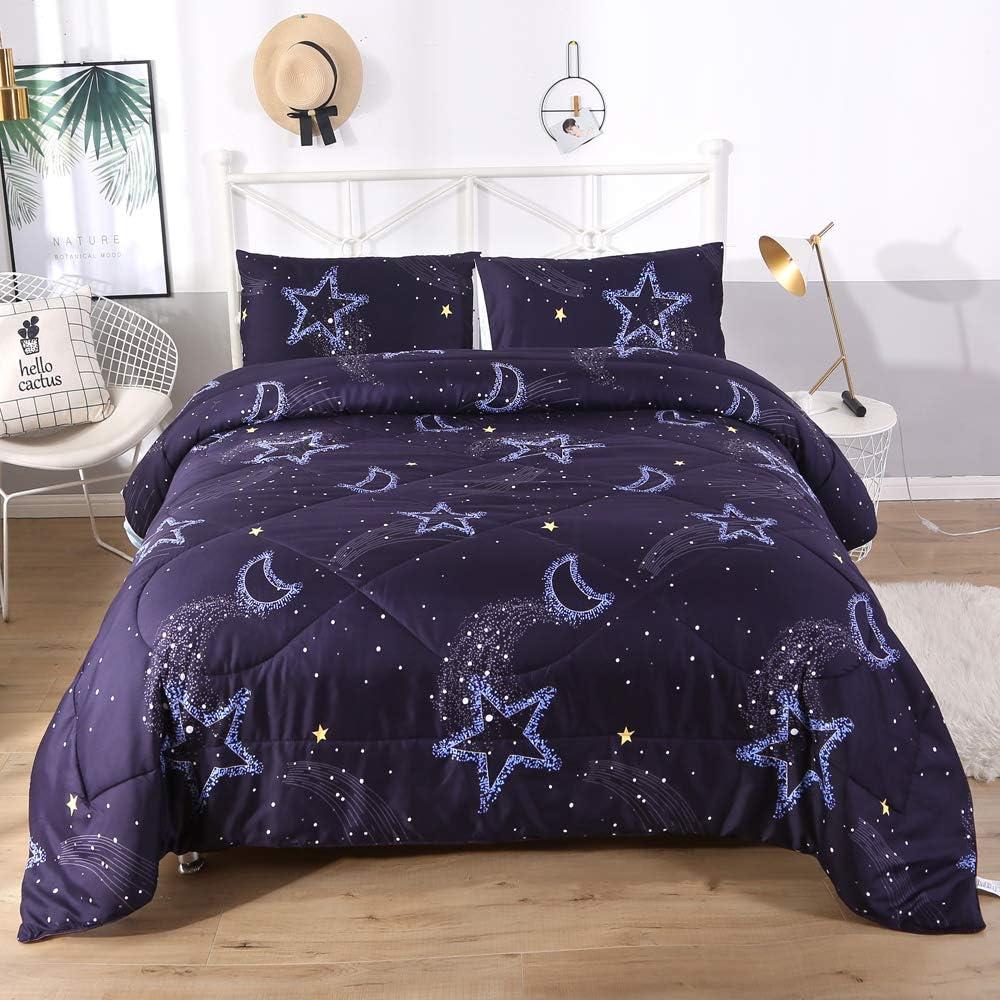 DECMAY 3D Moon and Star Bedding Comforter Set for Kids Lightweight Comforter Duvet Insert 3PCS Deep Blue Starry Sky Night Bedding for Girls and Boys Modern Design for Children Bedroom,Full Size
