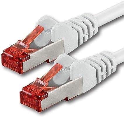 1aTTack - Cable de Red SFTP PIMF con 2 Conectores RJ45 de Doble apantallamiento Cat 6 Blanco 7 m