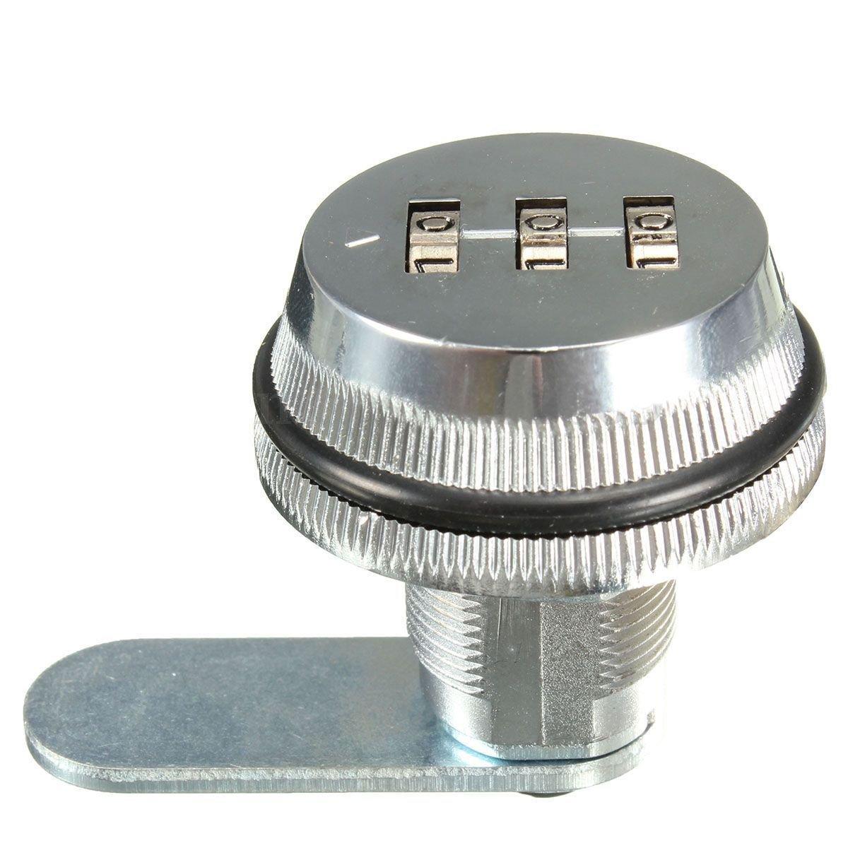 Cerradura de combinacion de codigo - TOOGOO(R) Cerradura de combinacion de codigo de aleacion sin llave de caja de correo del poste y de armario RV 3 Dial plata SPAGMA47877