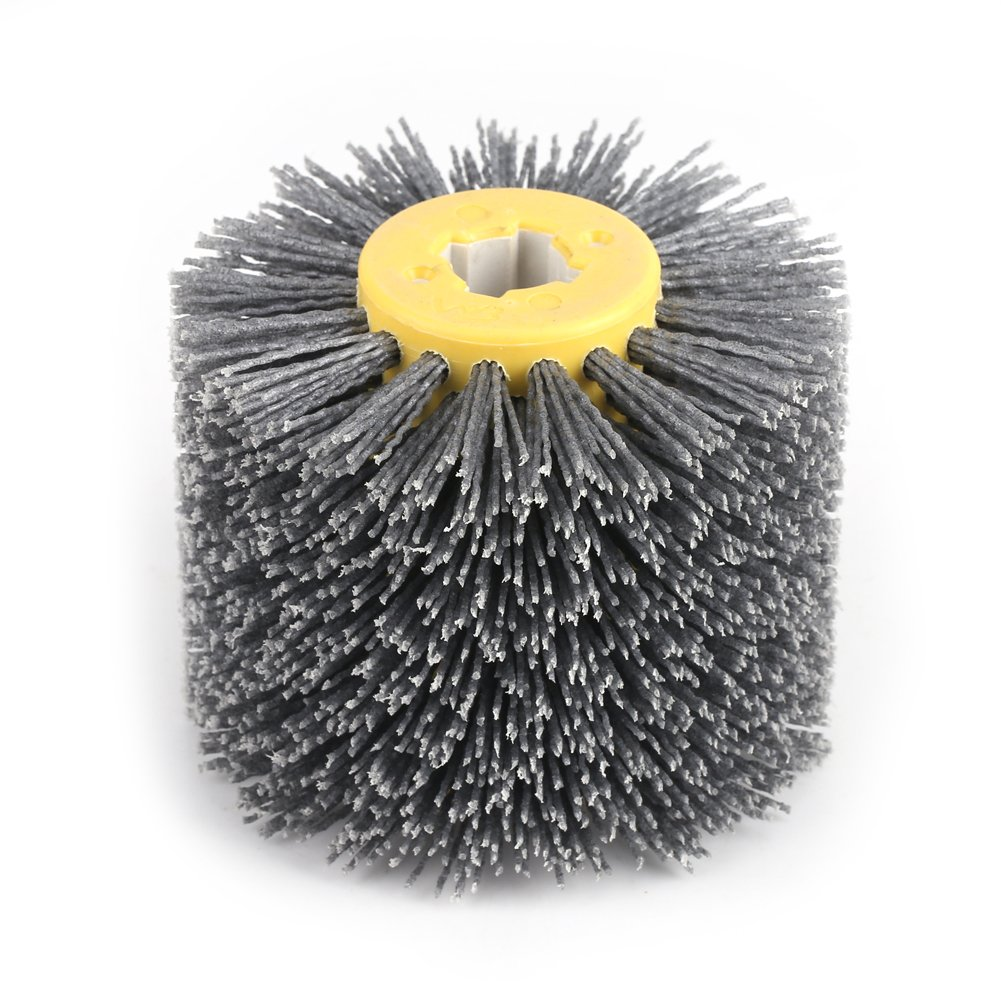 Fdit Abrasives Wire Drum Wheel Brush Brunishing Polishing Wheel for Wooden Furniture Burnishing Polishing Striping Drawing Grit #120