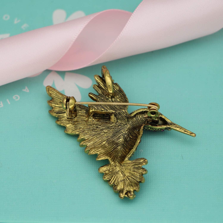 Mondora Abschlussball Brosche Pin Flamingo Vogel Emaille Damens /Österreichischen Kristall Gold-Ton