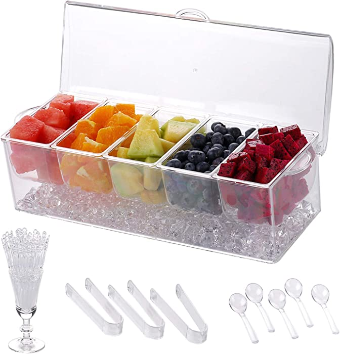 Chilled Condiment Server | Clear Icy Condiment Server Caddy | Chilled Condiment Tray with Lid and 5 Removable Compartments