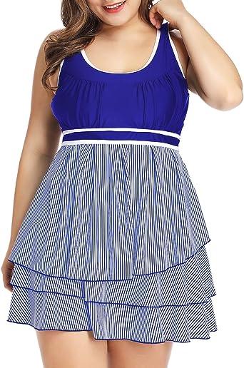 LALAGEN Womens Plus Size Racerback Tankini Set Two Piece Swimsuit with Boyshort Blue XXL-1
