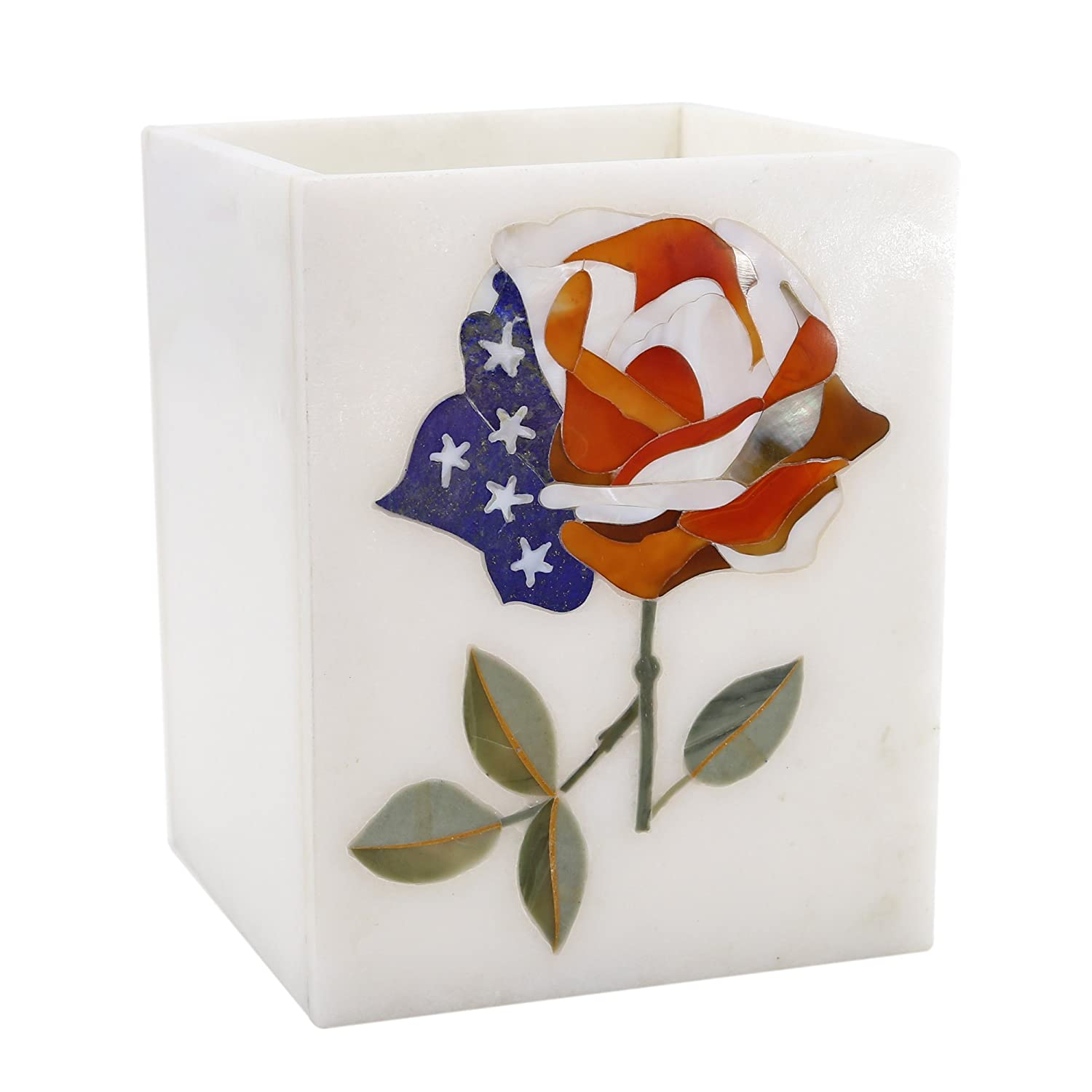 Handcrafted Design and Inlaid with Pure Natural and Semi Precious Stones Perfect Gift Abstract Patriotic Rose Design Reevaria Pietra dura Marble Flower Pen Holder