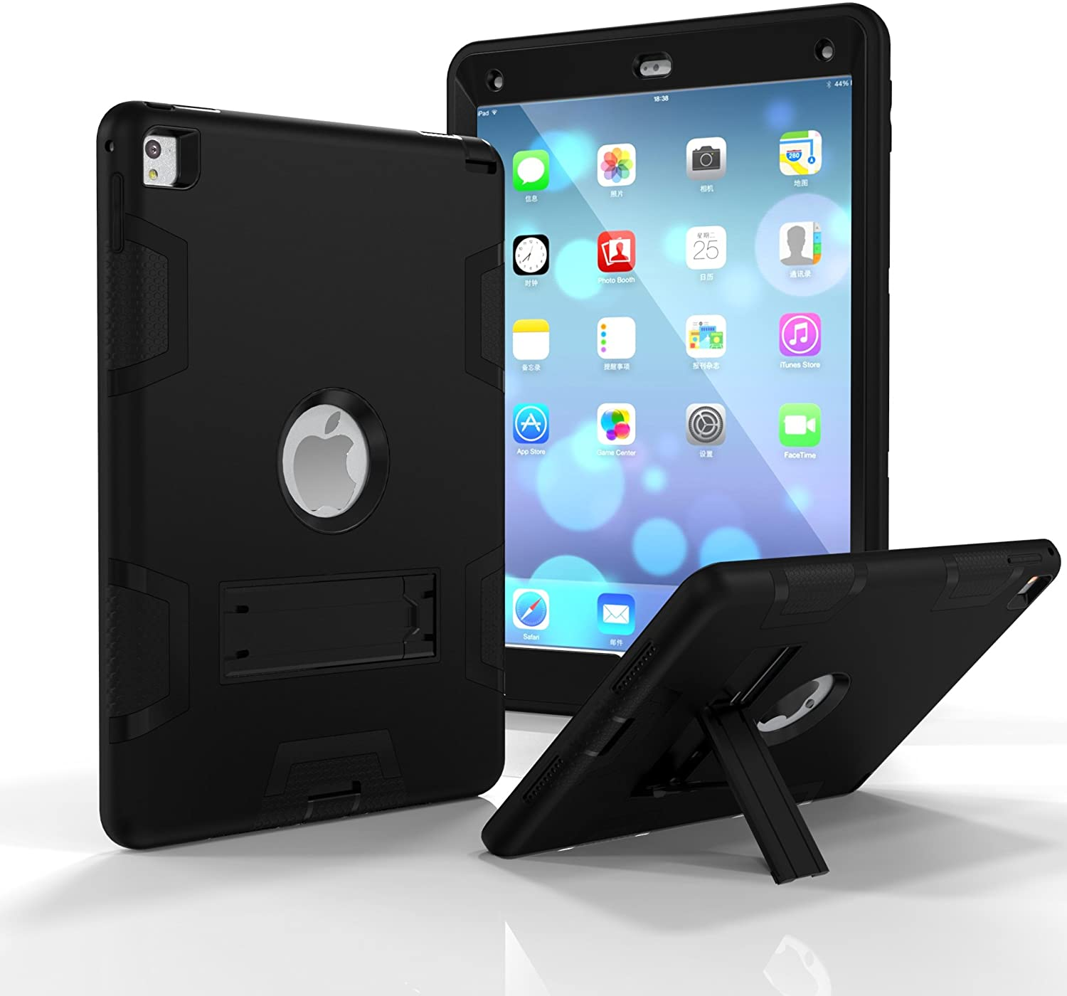 iPad Air 2 Case,iPad 6 Case, Dooge Three Layers PC&Silicon Armor Defender Heavy Duty Shock-Absorption Rugged Hybrid Full Body Protective Case with Kickstand for Apple iPad Air 2/ iPad 6 (2014 Model)