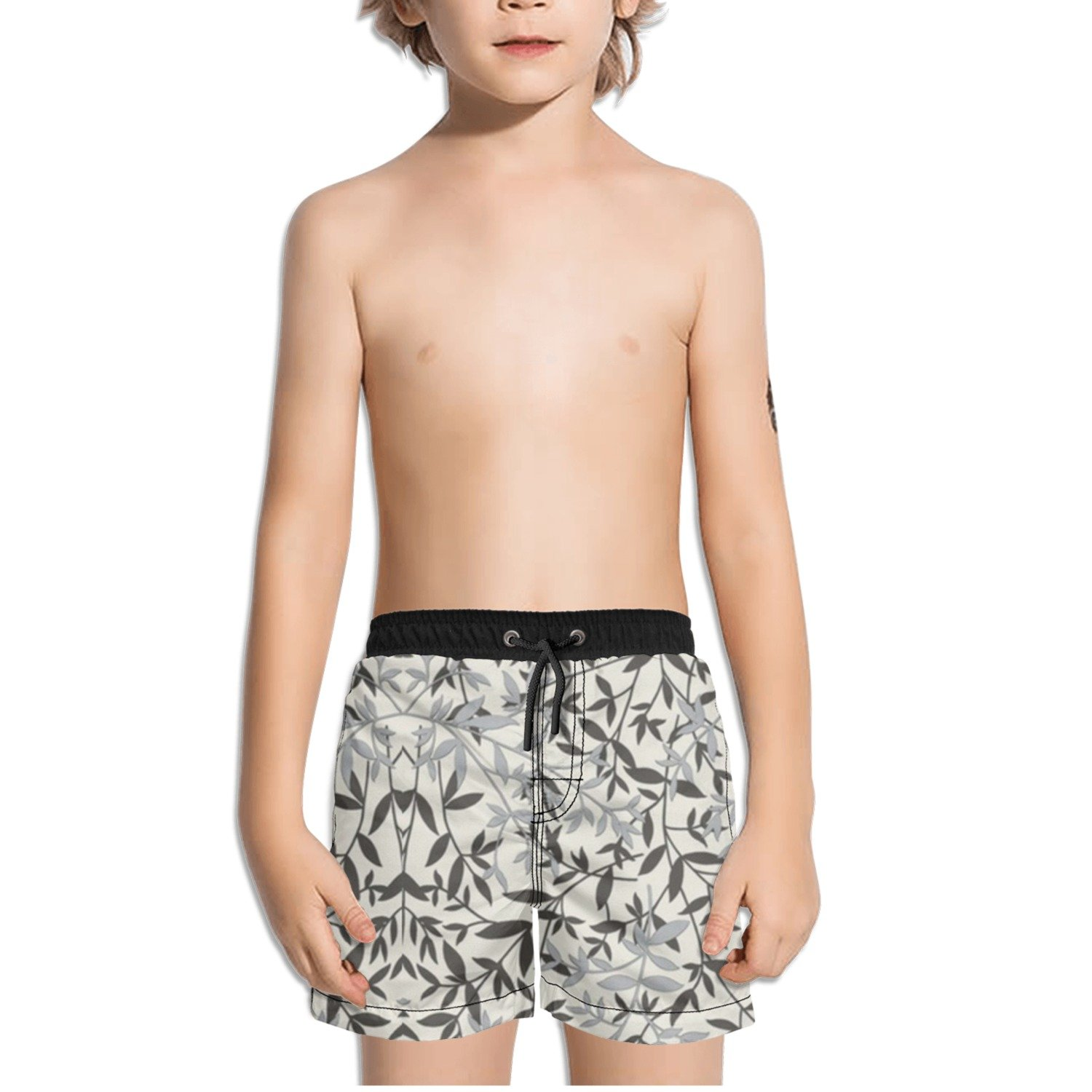 Ouxioaz Boys Swim Trunk Grey Leaves Beach Board Shorts