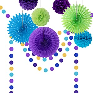 COLORFUL DECOR Paper Fan Party Decorations, Peacock Theme Party Supplies Tissue Paper Fan Pom Pom Honeycomb Balls Circle Dot Garland for Birthday Mermaid Under The Sea Party Decorations