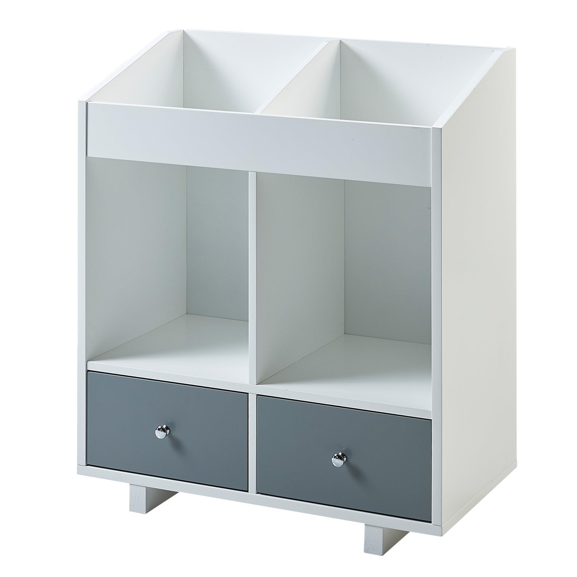 Versanora VNF-00010 Minimalista Space Saver Modern and Stylish 2 Section Storage Stand-White/Grey