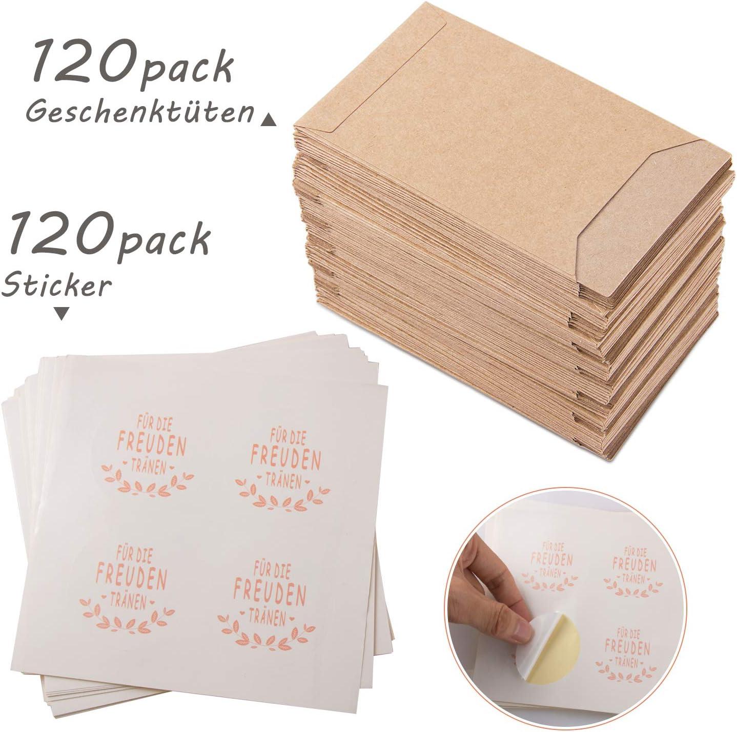 FORMIZON 120 Piezas Bolsas de Regalo, Bolsa Plana de Papel Kraft, Bolsas de Regalo Vintage y Stickers, Ideal para Boda Dulces, Bautizos, Pañuelo, Regalo de Invitados: Amazon.es: Hogar