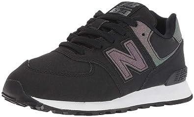 New Balance Girls' 574v1 Sneaker, BlackMulti, 2 W US Little