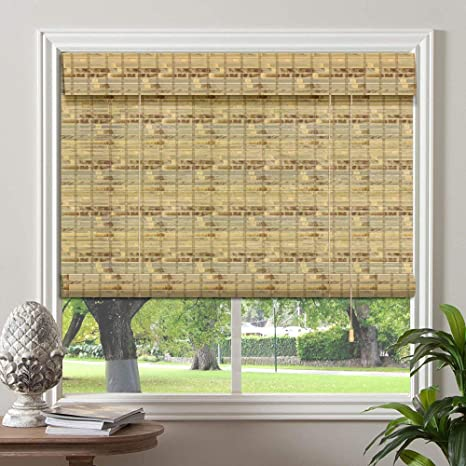 PASSENGER PIGEON Bamboo Window Blinds 20 W x 60 L Gently Filters Light into Room Roll Up Blinds Shades with Valance Winthdrop Tortoise