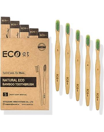 ECOet Cepillos de Dientes de Bambú con Cerdas Suaves para Adultos | Biodegradable | Cerdas Angulosas