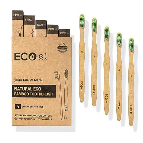 ECOet Cepillos de Dientes de Bambú con Cerdas Suaves para Adultos | Biodegradable | Cerdas Angulosas Onduladas | Sin BPA | Anti Bacterial | Embalaje ...