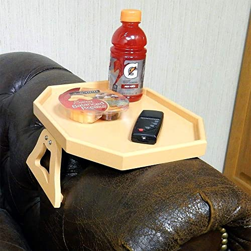 Clip Table for Chair Couch Arm, Honey Peach Color, Wooden, Spring Loaded Clamps.