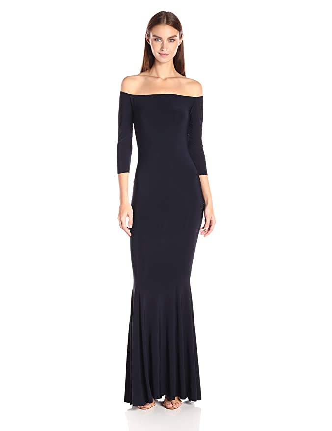 d4f5f22049 Norma Kamali Women s Off Shoulder Fishtail Gown Raw Edge at Amazon Women s  Clothing store