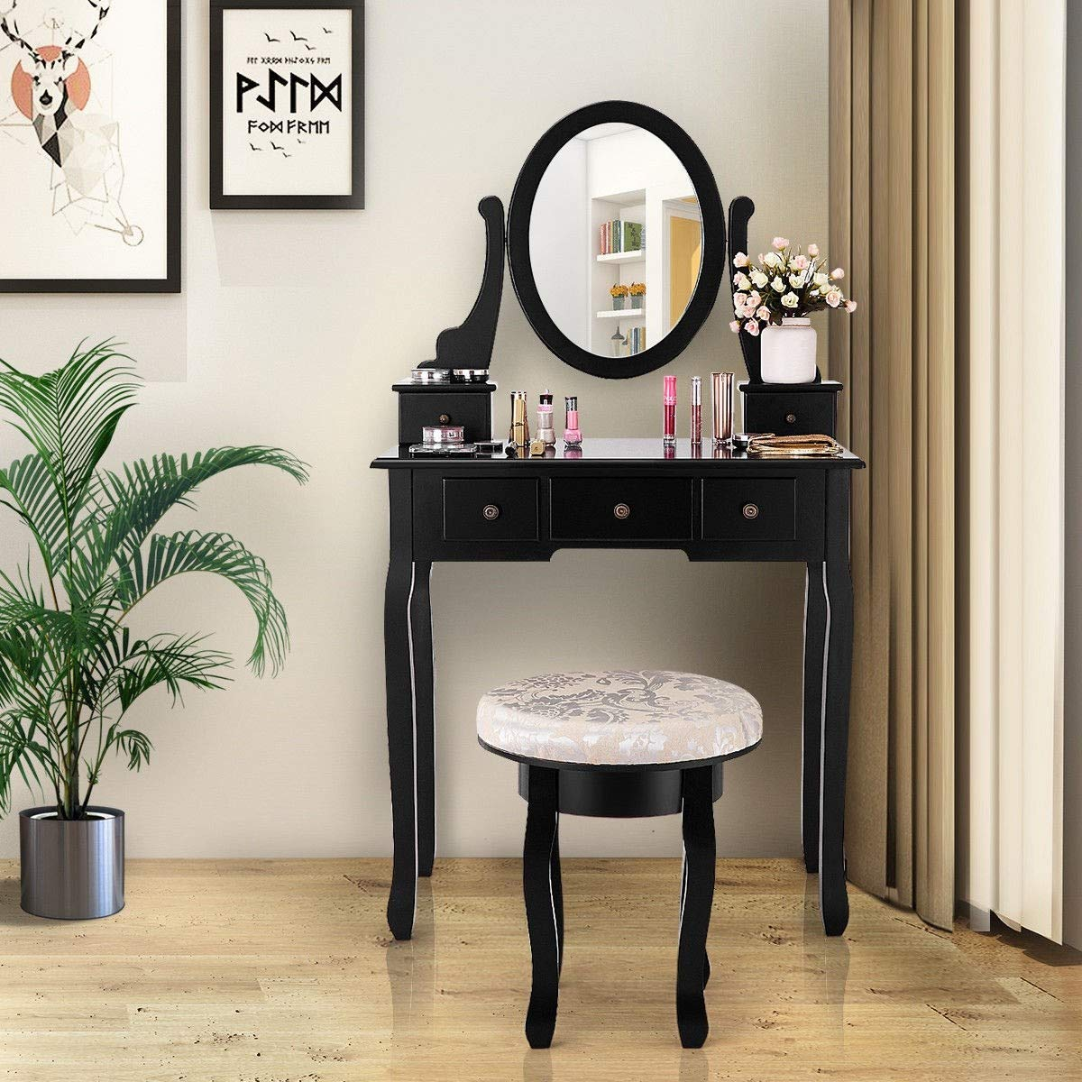 Kanizz Mirror Vanity Table Set Vintage Style Cushioned Stool 5 Drawers Accessories Hair Care Dressing Nail Polish Equipment Cosmmetic Jewelry Organizer Products