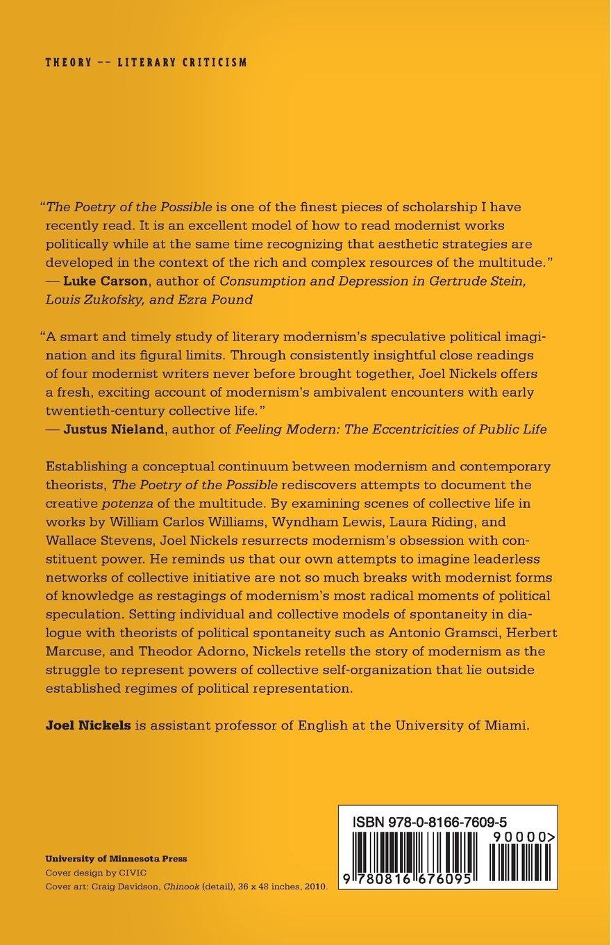 Amazon: The Poetry Of The Possible: Spontaneity, Modernism, And The  Multitude (9780816676095): Joel Nickels: Books