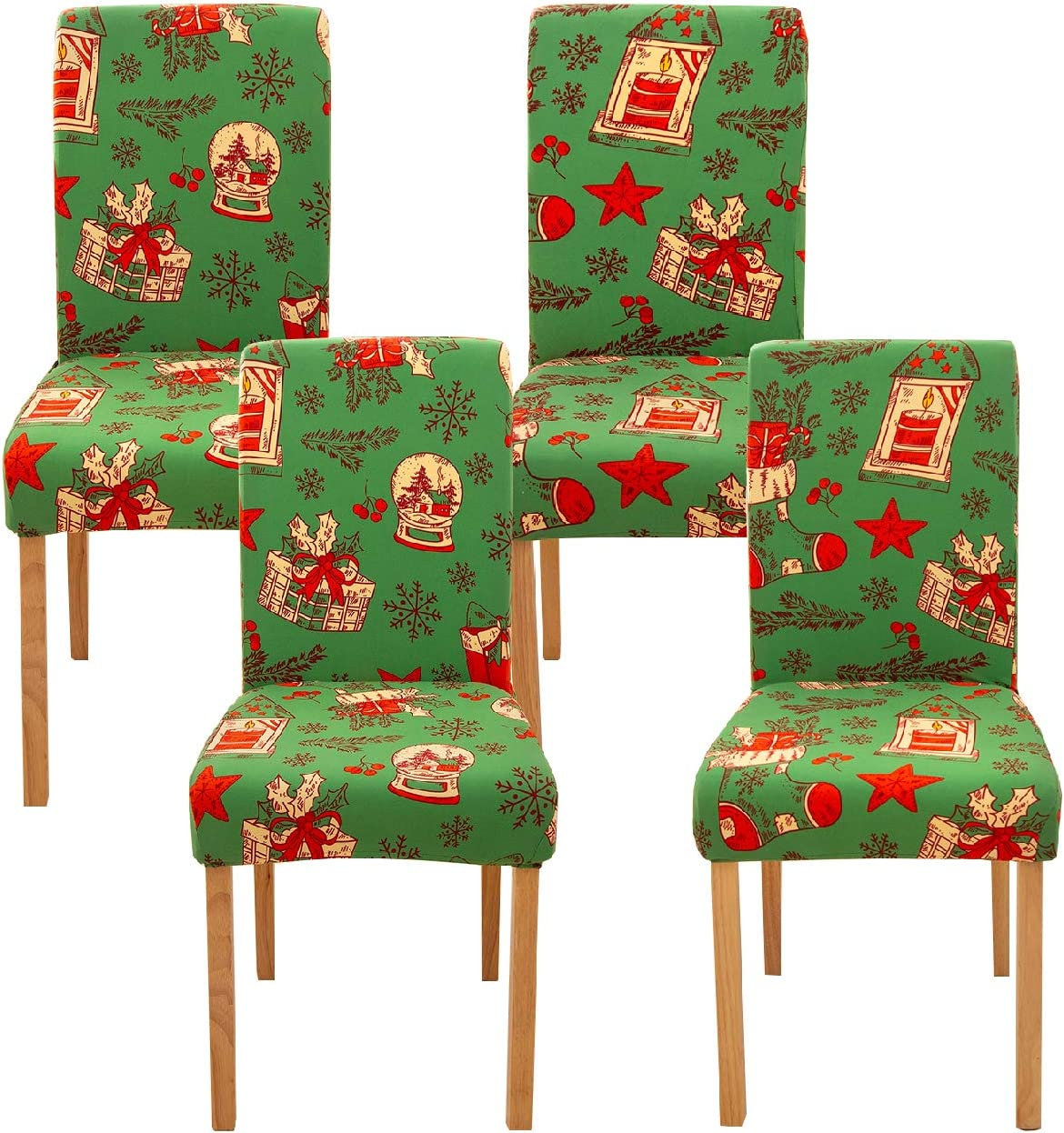 Ogrmar 4PCS Stretch Removable Washable Dining Room Chair Protector Slipcovers Christmas Decoration/Home Decor Dining Room Seat Cover