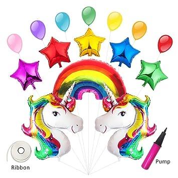 Tumao Unicornio y Arco Iris Globo de Cumpleaños Kit - 5 Estrellas + 7 Globos + 1 Bomba, para Fiesta de Cumpleaños, Arco Iris Decoraciones de la ...