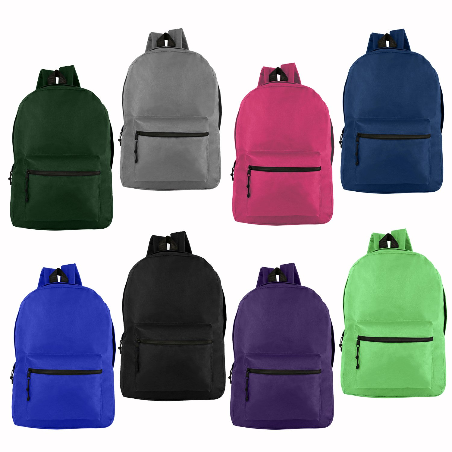 Wholesale 17'' Backpacks for Kids & Adults - Bulk Case of 24 Bookbags - 8 Assorted Colors