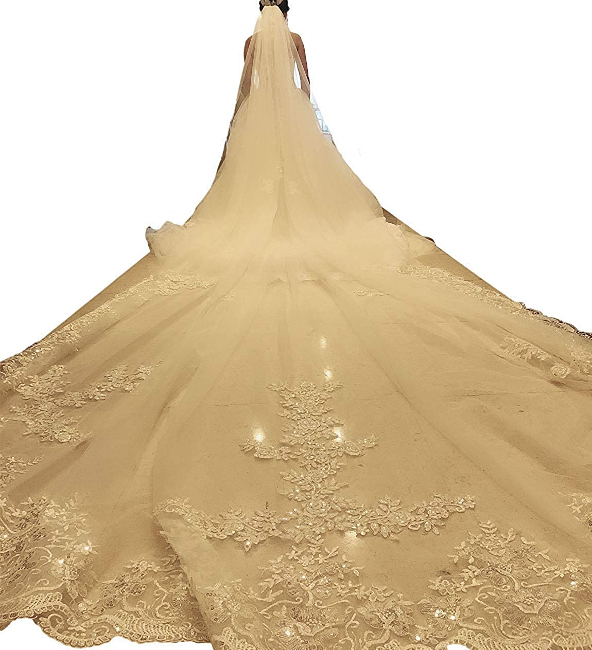 Champagne EllieHouse Women's Long Sequin Lace Wedding Bridal Veil With Comb S69