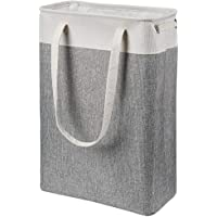 i BKGOO Laundry Basket with Handles Beige&Grey-Slim Laundry Bin Collapsible Dirty Clothes Basket Narrow Laundry Bag…